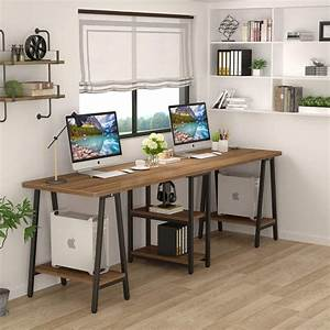 Tribesigns, Extra, Long, Two, Person, Desk, With, Storage, Shelf, 94, 5, Inches, Computer, Deskdouble
