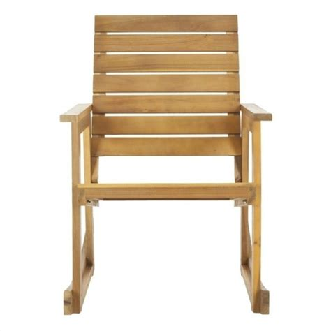 safavieh alexei steel and acacia wood rocking chair in