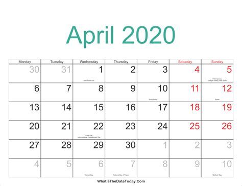 april calendar printable holidays whatisthedatetodaycom