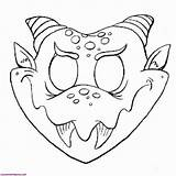Coloring Halloween Masks Scary Pages Mask Monster Popular sketch template