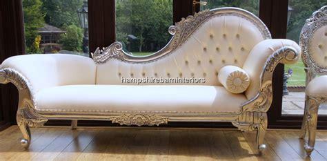 Ornate Silver Chaise Longue Faux White Cream Leather