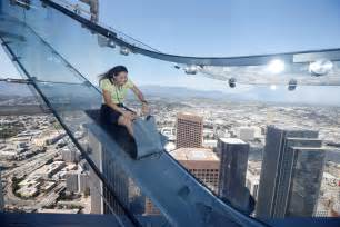 woman rides skyslide 1000 feet above downtown los angeles