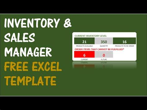 inventory  sales manager excel template youtube