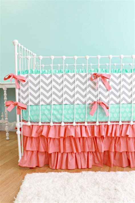 coral crib bedding chevron baby bedding mint and coral nursery baby bedding set sweet