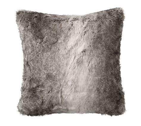 gray fur pillow faux fur pillow cover gray ombre pottery barn