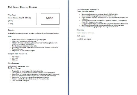 resume format for call center fresher call center director resume template formsword word templates sle forms