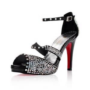 wedding reception shoes high heel sandals rhinestone peep toes black wedding shoes flowerweddingshoes