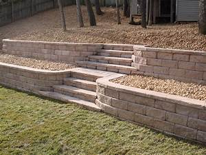Retaining Wall with Stone Steps Fredericksburg, Virginia