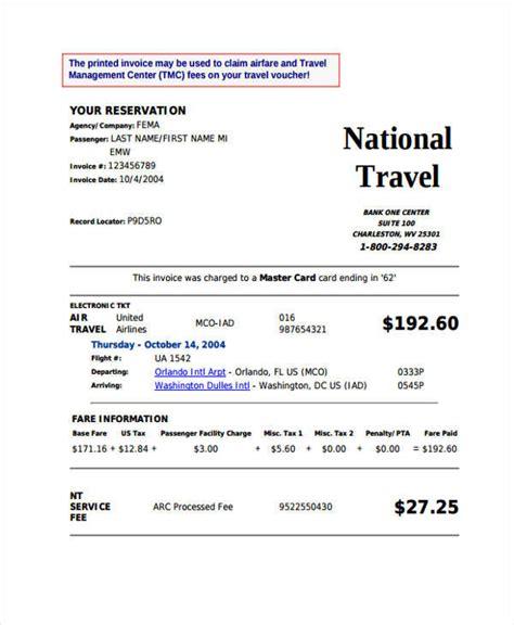 travel invoices  wordpdf format