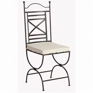 Chaise Fer Forgé : chaise fer forge assise coussin achat vente chaise marron cdiscount ~ Teatrodelosmanantiales.com Idées de Décoration