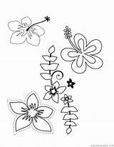 Coloring Hawaiian Lei Printable Tropical Template Hawaii Templates sketch template