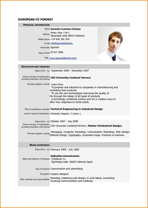 Copy Of Cv Format by Format Of A Cv For Application Letters Free Sle