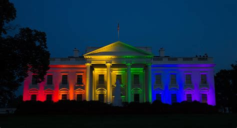 white house set aglow  rainbow pride politico