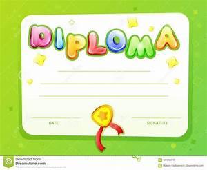Preschool Graduation Certificate Cartoon Kids Certificate Diploma Template Stock