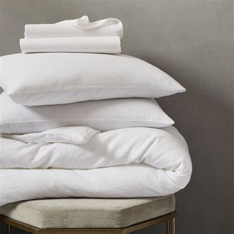 Belgian Flax Linen Bedding Set  White  West Elm
