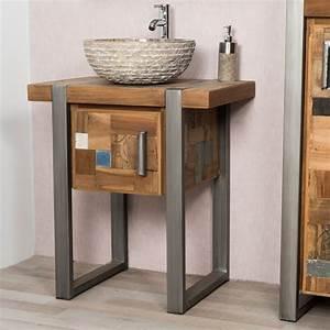 meuble sous vasque salle de bain bois wasuk With meuble salle de bain simple vasque bois