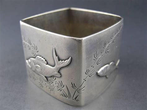 rare sterling tiffany  napkin ring  applied silver