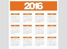 Calendário de laranja anual de 2016 Baixar vetores grátis