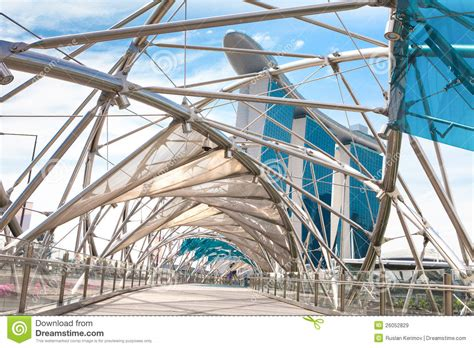 Helix Bridge In Singapore Stock Image. Image Of District