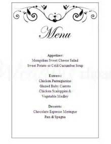 one page wedding program template printable poetic menu template