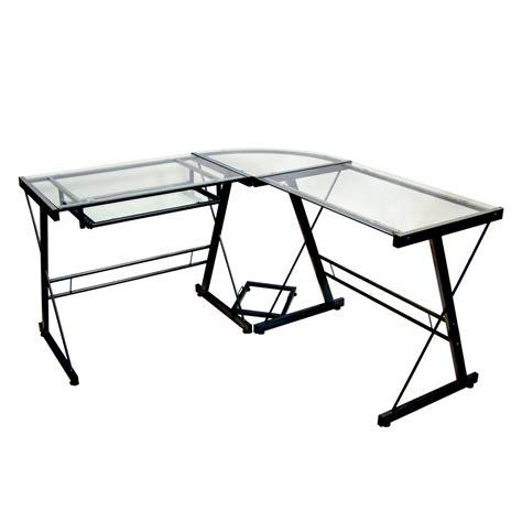 glass corner computer desk z line belaire glass top corner computer desk black