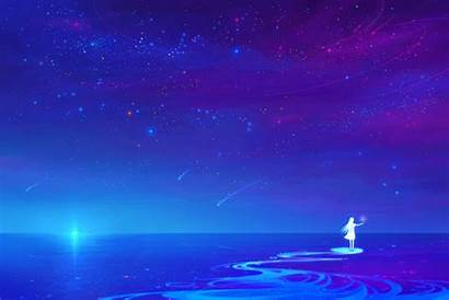 Night Sky Anime Stars Water Scenery Wallpapers