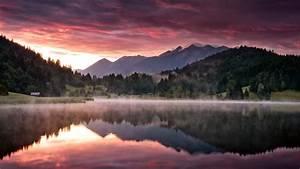 Download Wallpaper 1366x768 Dawn landscape, nature ...