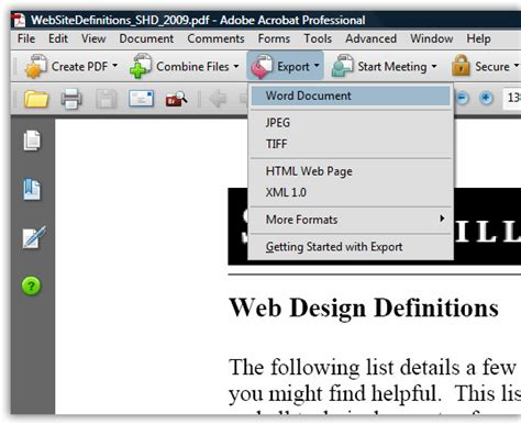 How To Convert A Pdf To A Word File With Acrobat Standard