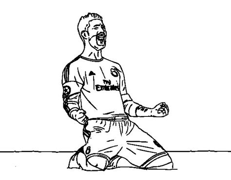 Goal Kleurplaat by Sergio Ramos Celebrating A Goal Coloring Page