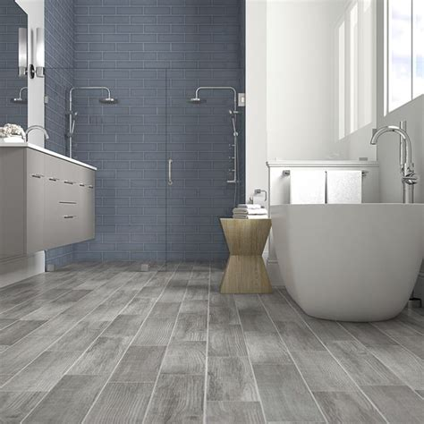 Lowes Bathroom Floor Tiles by Blue Shower Tile With Gray Wood Look Floor Tiles