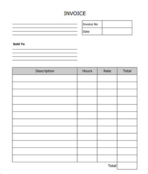 blank invoice excel printable invoice template