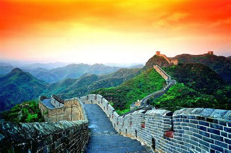 A Colorful Sky Over Wall Of China Wallpapers And Images