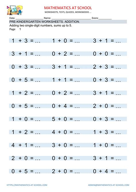 pre kindergarten math worksheets addition  subtraction
