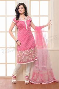 Pink and White Cotton Embroidered Salwar kameez | Indian ...