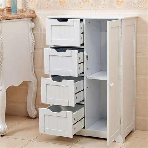 Commercial Bathroom Storage Cabinet by White Wooden 4 Drawer Bathroom Storage Cupboard Cabinet