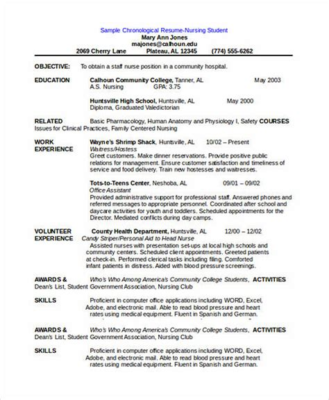 order  good chronological resume sample