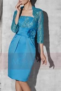 robe de fete courte bleu avec bolero c811 With robe de cocktail combiné avec bracelet nato bleu