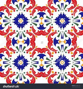 Mexican Stylized Talavera Tiles Seamless Pattern Stock ...
