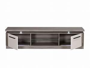 Meuble Chene Gris : meuble tv oslo chene gris blanc brillant ~ Teatrodelosmanantiales.com Idées de Décoration