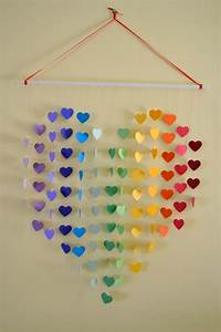 Large rainbow heart mobile wall hanging baby shower