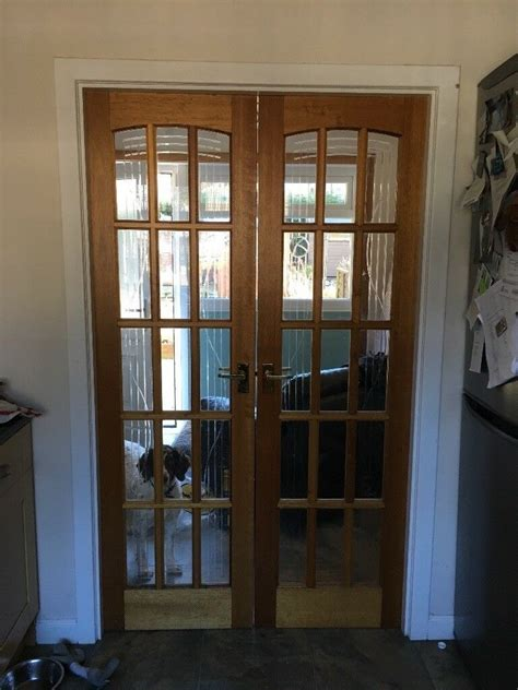 internal double doors solid wood light oak glazed