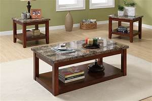 3 Piece Coffee Table Set, Cherry Wood Finish, Granite