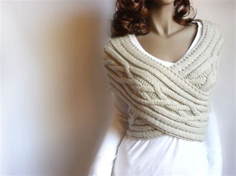 Hand Knit Vest Cable Knit Womens Sweater Knit Cowl Many