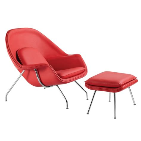 eero saarinen style womb chair and ottoman set leather