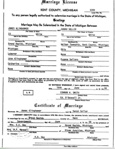 marriage licenses  michigan