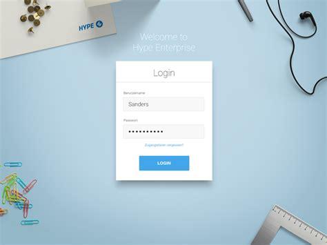 hype enterprise login ux ui login design login page