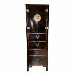 Chinese tall chest black chinese reproduction for Kitchen cabinets lowes with hong kong wall art