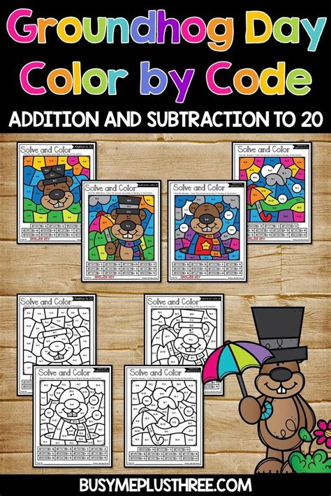 color  code groundhog day math activities addition