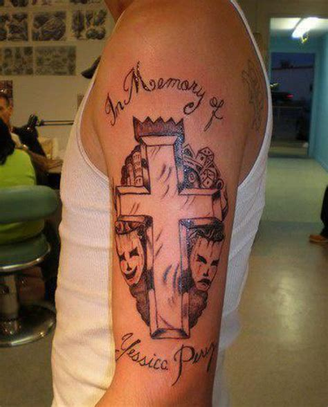 memorial cross tattoos ideas