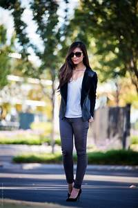 Light Blue Jeans Outfit How To Wear Black Leather Jacket This Spring 2018